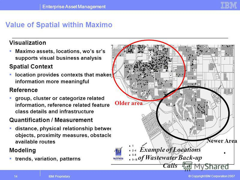 Enterprise Asset Management IBM Proprietary14 © Copyright IBM Corporation 2007 Value of Spatial within Maximo Visualization Maximo assets, locations, wos srs supports visual business analysis Spatial Context location provides contexts that makes info