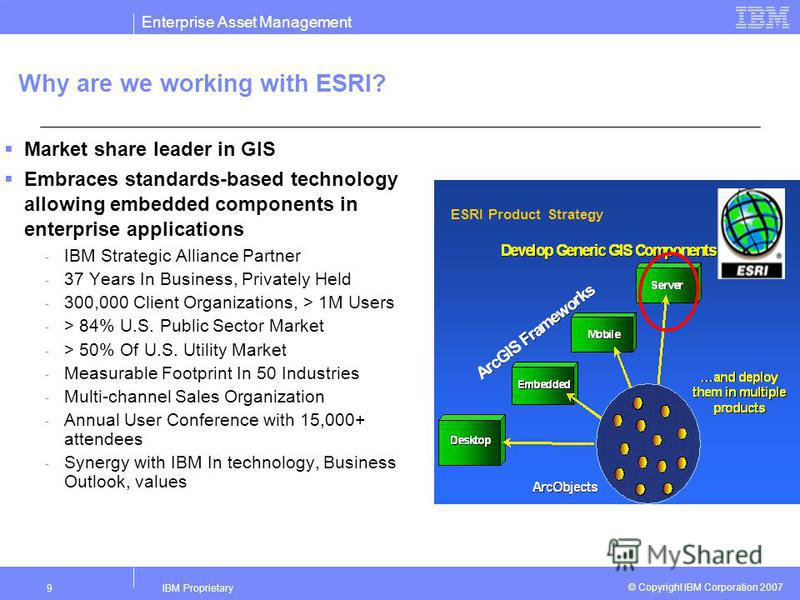 Enterprise Asset Management IBM Proprietary9 © Copyright IBM Corporation 2007 Why are we working with ESRI? Market share leader in GIS Embraces standards-based technology allowing embedded components in enterprise applications - IBM Strategic Allianc