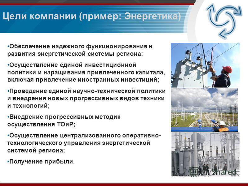 Обеспечение надежного функционирования и развития энергетической системы региона; Осуществление единой инвестиционной политики и наращивания привлеченного капитала, включая привлечение иностранных инвестиций; Проведение единой научно-технической поли