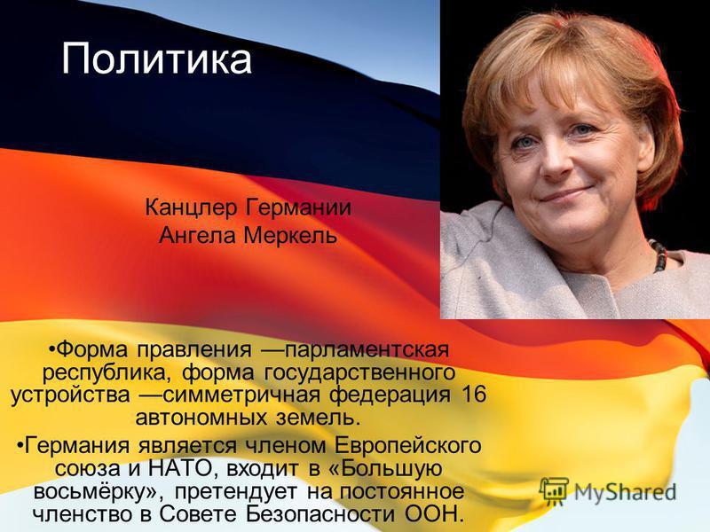 Политика Канцлер Германии Ангела Меркель Форма правления парламентская республика, форма государственного устройства симметричная федерация 16 автономных земель. Германия является членом Европейского союза и НАТО, входит в «Большую восьмёрку», претен
