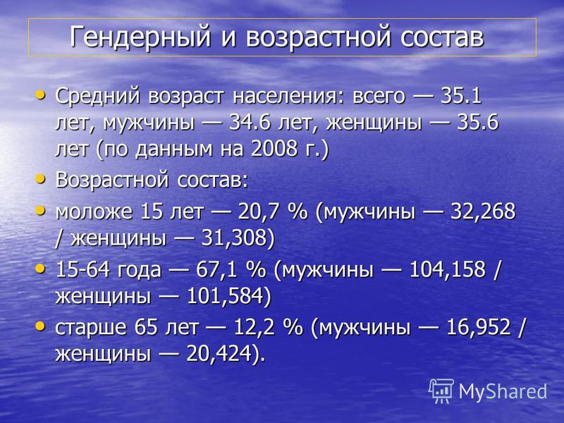 Гендерный и возрастной состав Гендерный и возрастной состав Средний возраст населения: всего 35.1 лет, мужчины 34.6 лет, женщины 35.6 лет (по данным на 2008 г.) Средний возраст населения: всего 35.1 лет, мужчины 34.6 лет, женщины 35.6 лет (по данным