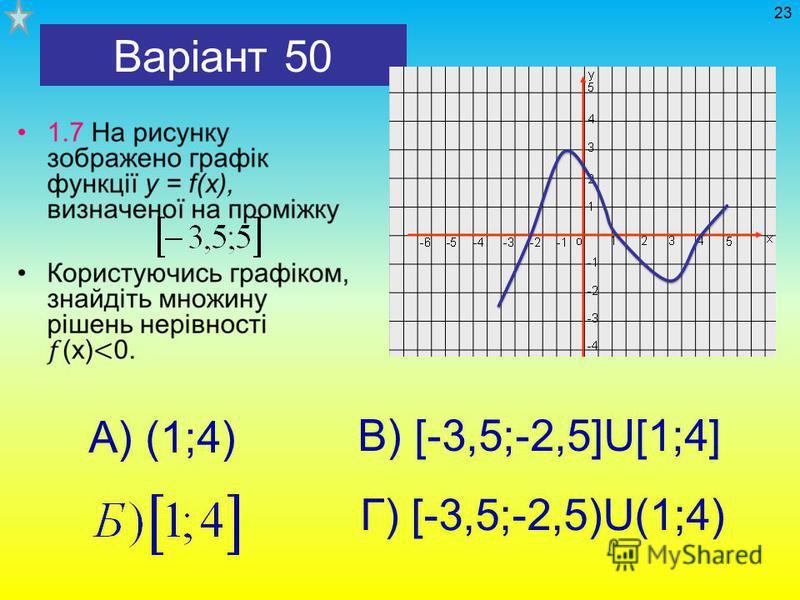 Варіант 50 А) (1;4) В) [-3,5;-2,5]U[1;4] Г) [-3,5;-2,5)U(1;4) 23