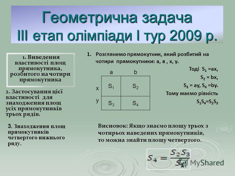 Геометрична задача ІІІ етап олімпіади І тур 2009 р. 3. Знаходження площ прямокутників четвертого нижнього ряду. 2. Застосування цієї властивості для знаходження площ усіх прямокутників трьох рядів. 1. Виведення властивості площ прямокутника, розбитог