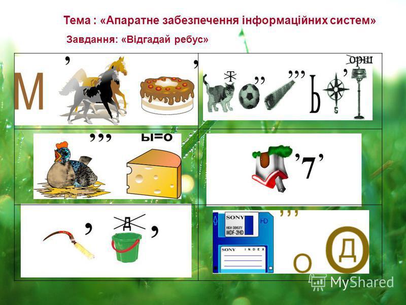 Тема : «Апаратне забезпечення інформаційних систем» Завдання: «Відгадай ребус»
