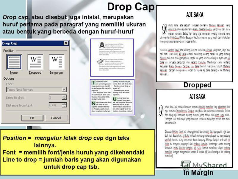 Drop Cap Dropped In Margin Drop cap, atau disebut juga inisial, merupakan huruf pertama pada paragraf yang memiliki ukuran atau bentuk yang berbeda dengan huruf-huruf Position = mengatur letak drop cap dgn teks lainnya. Font = memilih font/jenis huru