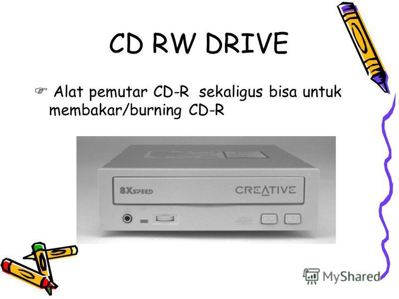 CD RW DRIVE Alat pemutar CD-R sekaligus bisa untuk membakar/burning CD-R