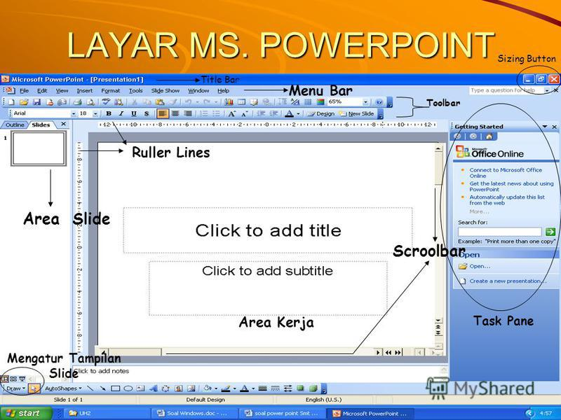 LAYAR MS. POWERPOINT Title Bar Menu Bar Toolbar Sizing Button Task Pane Area Kerja Ruller Lines Area Slide Mengatur Tampilan Slide Scroolbar
