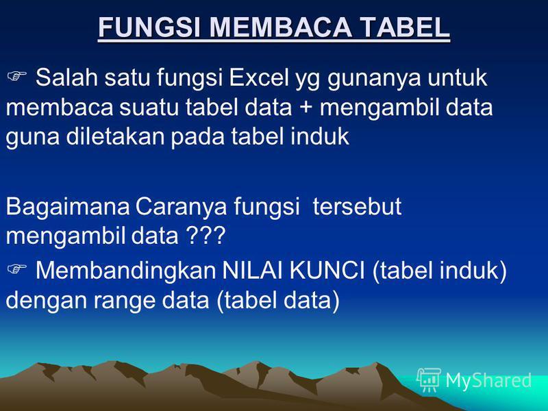 FUNGSI MEMBACA TABEL Salah satu fungsi Excel yg gunanya untuk membaca suatu tabel data + mengambil data guna diletakan pada tabel induk Bagaimana Caranya fungsi tersebut mengambil data ??? Membandingkan NILAI KUNCI (tabel induk) dengan range data (ta