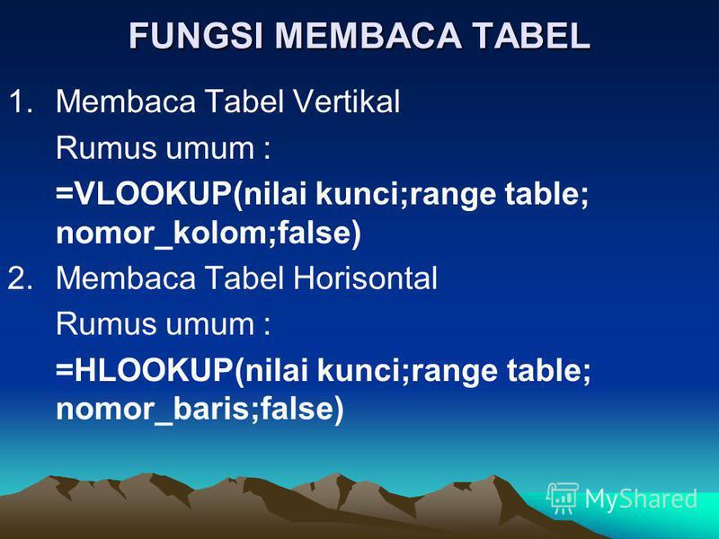 FUNGSI MEMBACA TABEL 1.Membaca Tabel Vertikal Rumus umum : =VLOOKUP(nilai kunci;range table; nomor_kolom;false) 2.Membaca Tabel Horisontal Rumus umum : =HLOOKUP(nilai kunci;range table; nomor_baris;false)