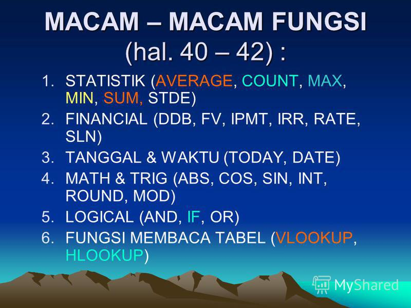 MACAM – MACAM FUNGSI (hal. 40 – 42) : 1.STATISTIK (AVERAGE, COUNT, MAX, MIN, SUM, STDE) 2.FINANCIAL (DDB, FV, IPMT, IRR, RATE, SLN) 3.TANGGAL & WAKTU (TODAY, DATE) 4.MATH & TRIG (ABS, COS, SIN, INT, ROUND, MOD) 5.LOGICAL (AND, IF, OR) 6.FUNGSI MEMBAC
