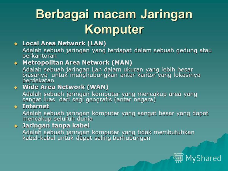Berbagai macam Jaringan Komputer Local Area Network (LAN) Local Area Network (LAN) Adalah sebuah jaringan yang terdapat dalam sebuah gedung atau perkantoran Metropolitan Area Network (MAN) Metropolitan Area Network (MAN) Adalah sebuah jaringan Lan da