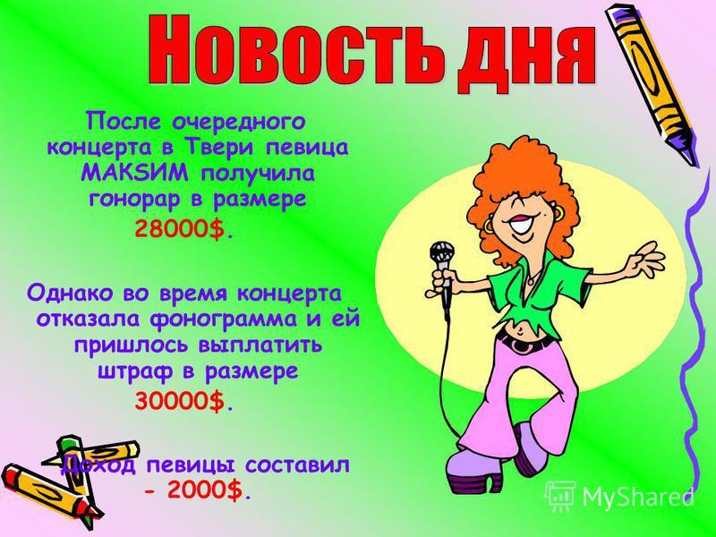 После очередного концерта в Твери певица МАКSИМ получила гонорар в размере 28000$. Однако во время концерта отказала фонограмма и ей пришлось выплатить штраф в размере 30000$. Доход певицы составил - 2000$.