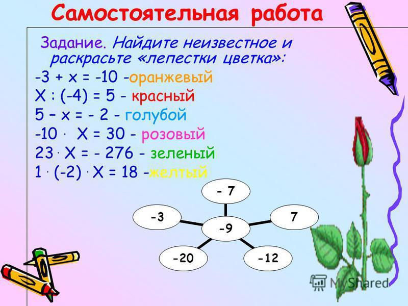 Самостоятельная работа Задание. Найдите неизвестное и раскрасьте «лепестки цветка»: -3 + х = -10 -оранжевый Х : (-4) = 5 - красный 5 – х = - 2 - голубой -10. Х = 30 - розовый 23. Х = - 276 - зеленый 1. (-2). Х = 18 -желтый