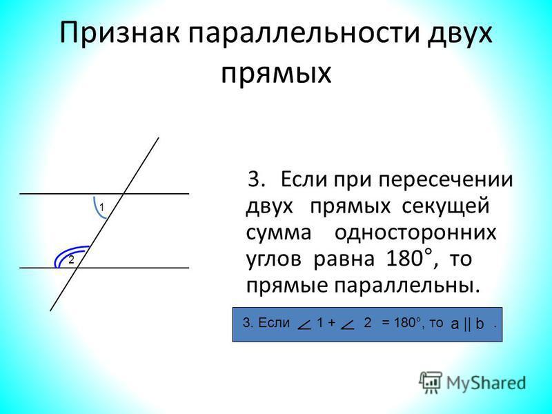Признак параллельности двух прямых 3. Если при пересечении двух прямых секущей сумма односторонних углов равна 180°, то прямые параллельны. 3. Если = 180°, то.1 +2 а || b 1 2