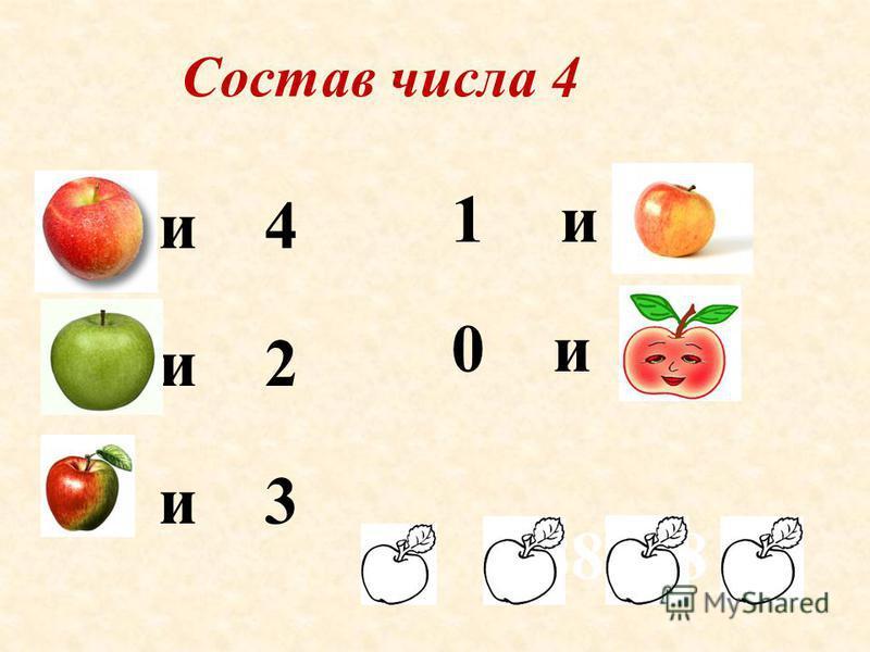 Состав числа 4 0 и 4 2 и 2 1 и 3 0 и 4 888888