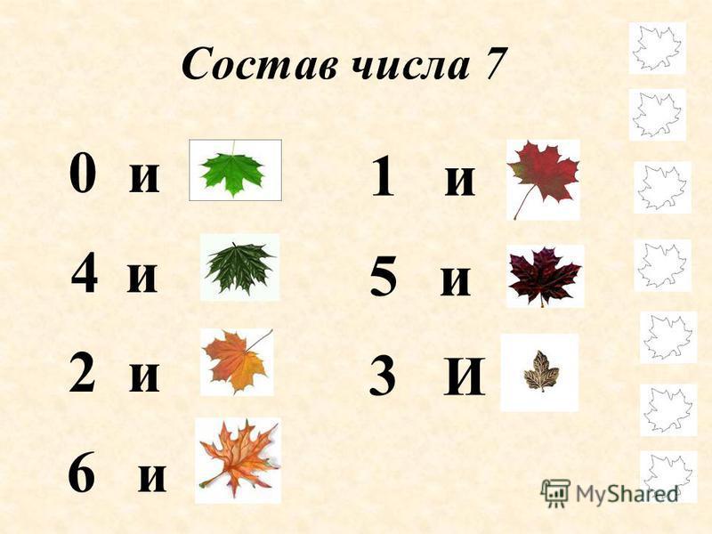 Состав числа 7 0 и 7 4 и 3 2 и 5 6 и 1 1 и 6 5 и 2 3 И 4
