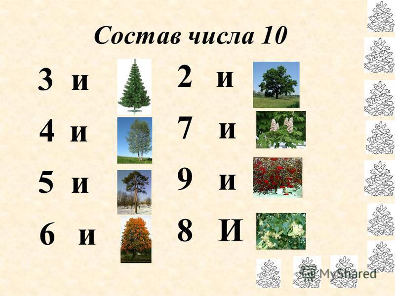 Состав числа 10 3 и 7 4 и 6 5 и 5 6 и 4 2 и 8 7 и 3 9 и 1 8 И 2