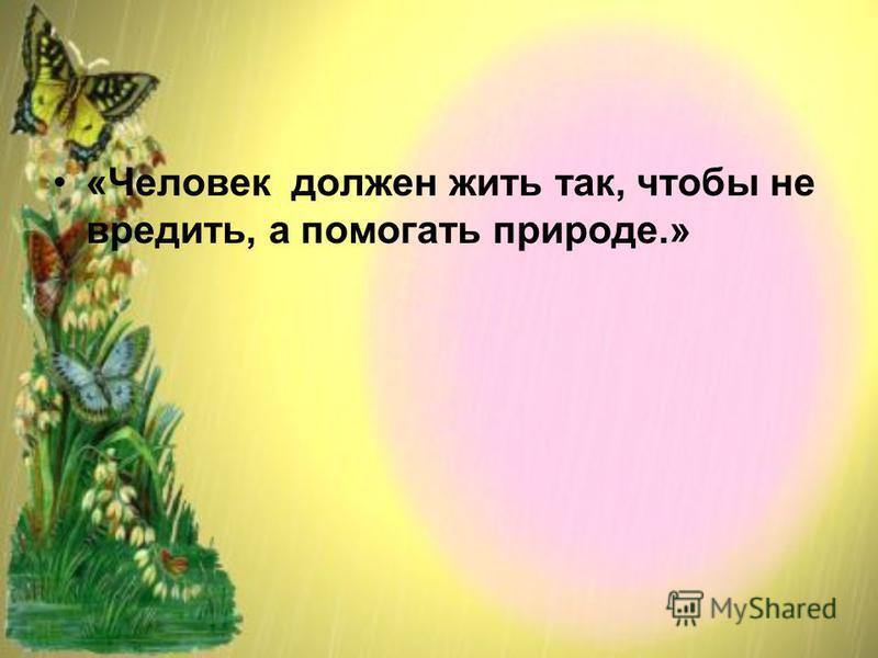 «Человек должен жить так, чтобы не вредить, а помогать природе.»