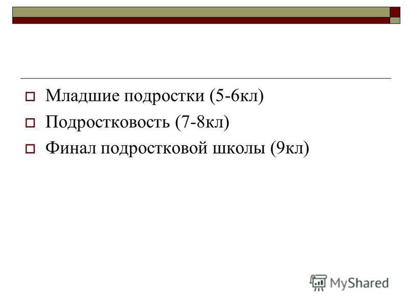 Младшие подростки (5-6 кл) Подростковость (7-8 кл) Финал подростковой школы (9 кл)