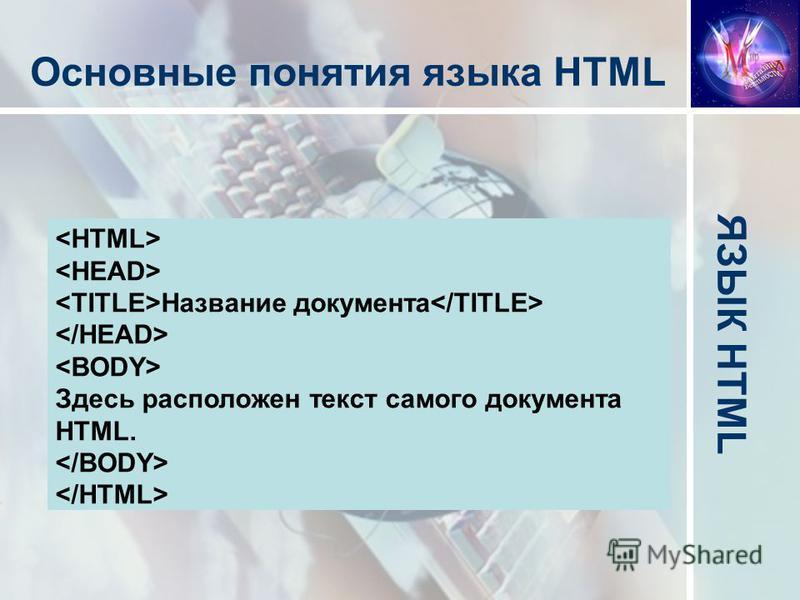 Основные понятия языка HTML 1. Элемент 2. Тег 3. Гиперссылка Название документа Здесь расположен текст самого документа HTML.