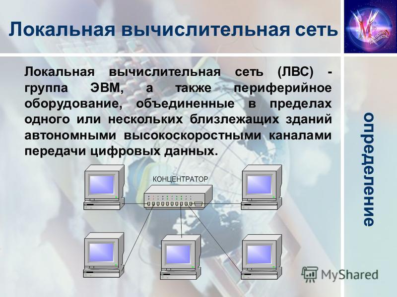 Локальная вычислительная сеть (ЛВС) - группа ЭВМ, а также периферийное оборудование, объединенные в пределах одного или нескольких близлежащих зданий автономными высокоскоростными каналами передачи цифровых данных. определение Локальная вычислительна