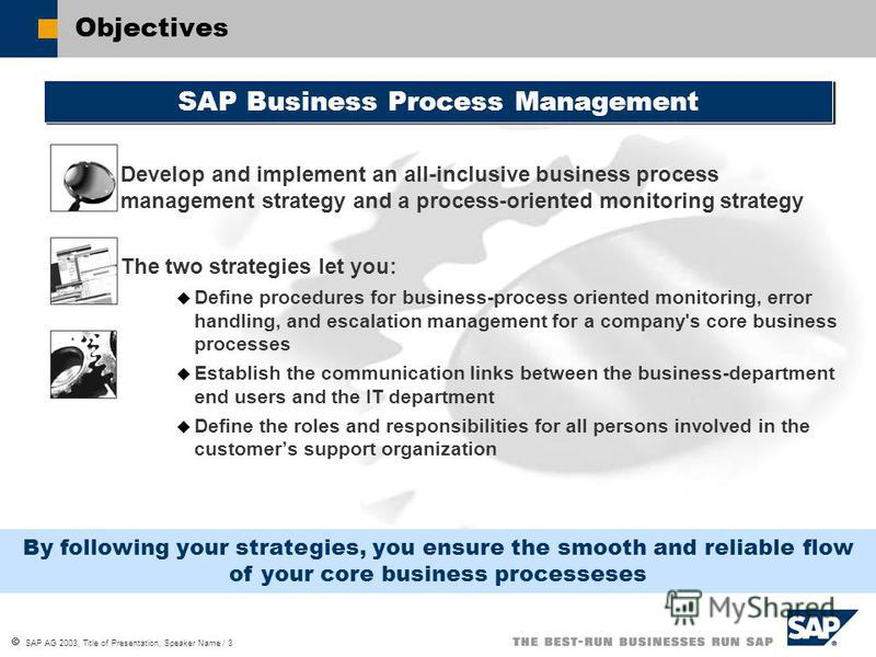 SAP AG 2003, Title of Presentation, Speaker Name / 3 Objectives SAP Business Process Management By following your strategies, you ensure the smooth and reliable flow of your core business processeses Develop and implement an all-inclusive business pr