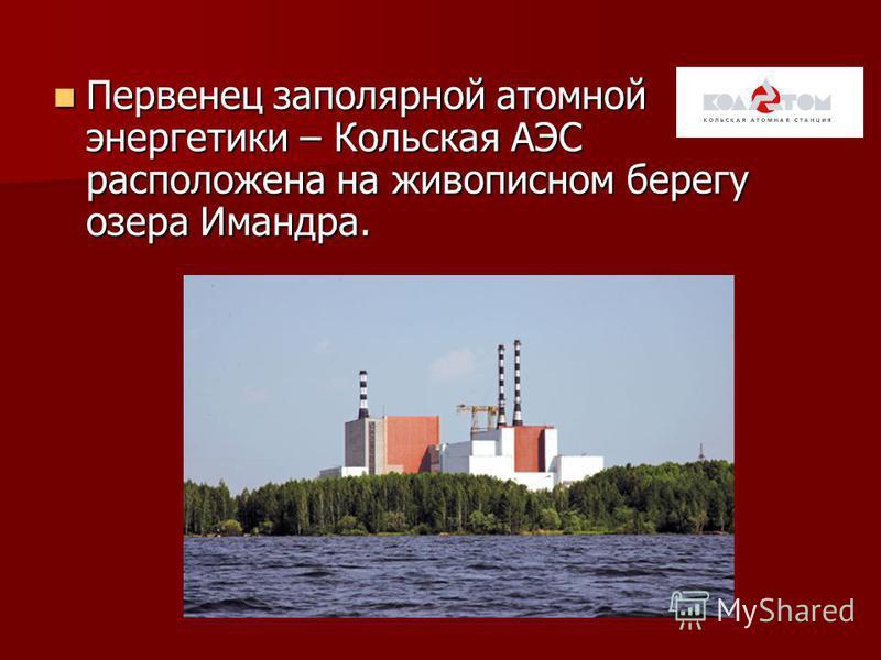 Кольская атомная электростанция. По производству электроэнергии на душу населения Мурманская область давно занимает одно из первых мест в России. По производству электроэнергии на душу населения Мурманская область давно занимает одно из первых мест в
