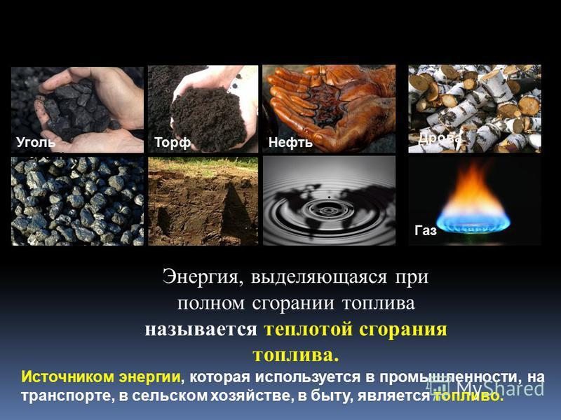 Источником энергии, которая используется в промышленности, на транспорте, в сельском хозяйстве, в быту, является топливо. Уголь ТорфНефть Уголь Газ Дрова Энергия, выделяющаяся при полном сгорании топлива называется теплотой сгорания топлива.