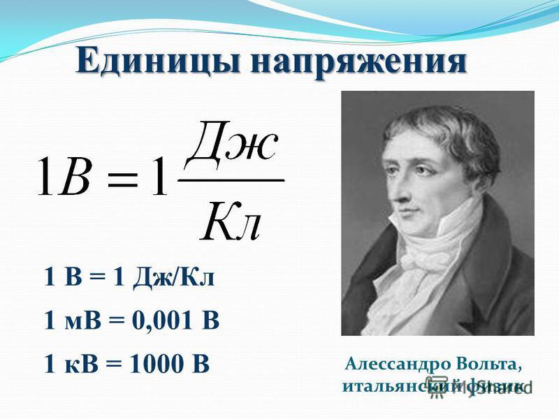 Единицы напряжения Алессандро Вольта, итальянский физик 1 В = 1 Дж/Кл 1 мВ = 0,001 В 1 кВ = 1000 В