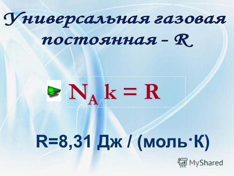 R=8,31 Дж / (моль·К) N k = R N A k = R