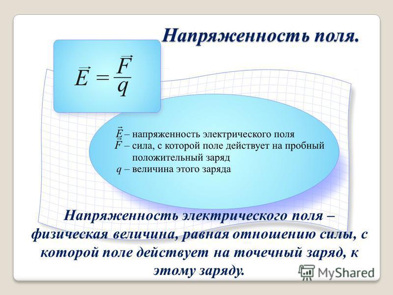 Напряженность поля. Напряженность электрического поля – физическая величина, равная отношению силы, с которой поле действует на точечный заряд, к этому заряду.