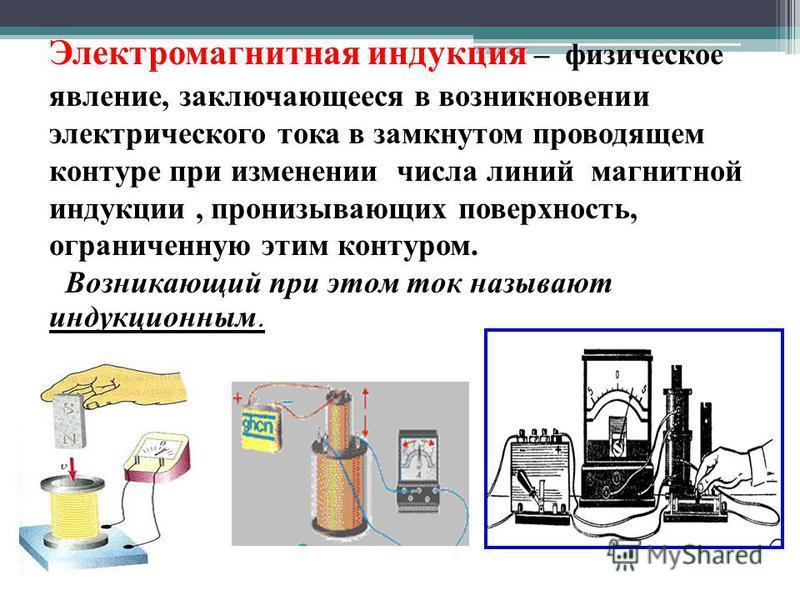 Электромагнитная индукция – физическое явление, заключающееся в возникновении электрического тока в замкнутом проводящем контуре при изменении числа линий магнитной индукции, пронизывающих поверхность, ограниченную этим контуром. Возникающий при этом