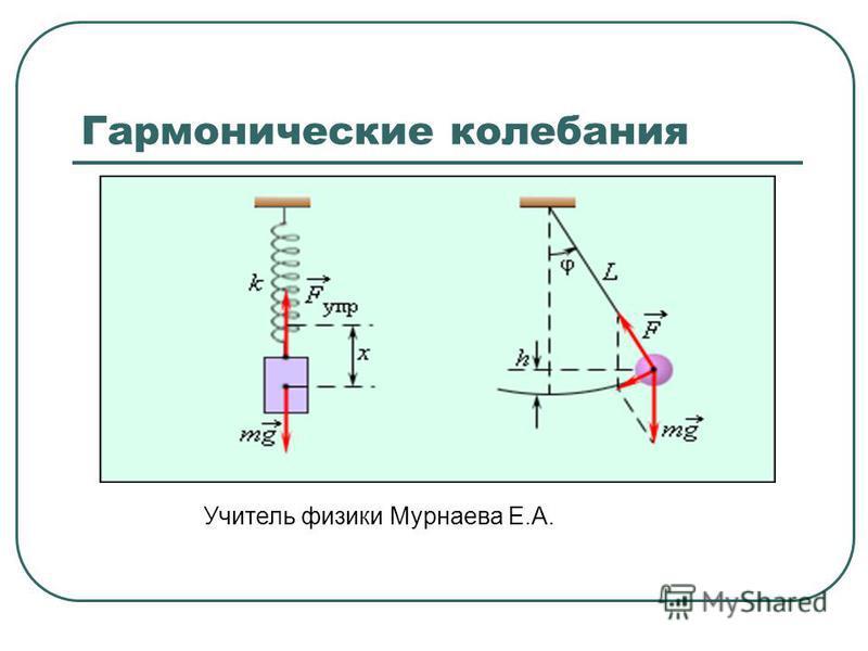Гармонические колебания Учитель физики Мурнаева Е.А.