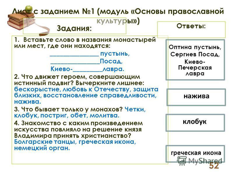 Лист с заданием 1 (модуль «Основы православной культуры») Задания: 1. Вставьте слово в названия монастырей или мест, где они находятся: _______________ пустынь, _______________Посад, Киево-_________лавра. 2. Что движет героем, совершающим истинный по