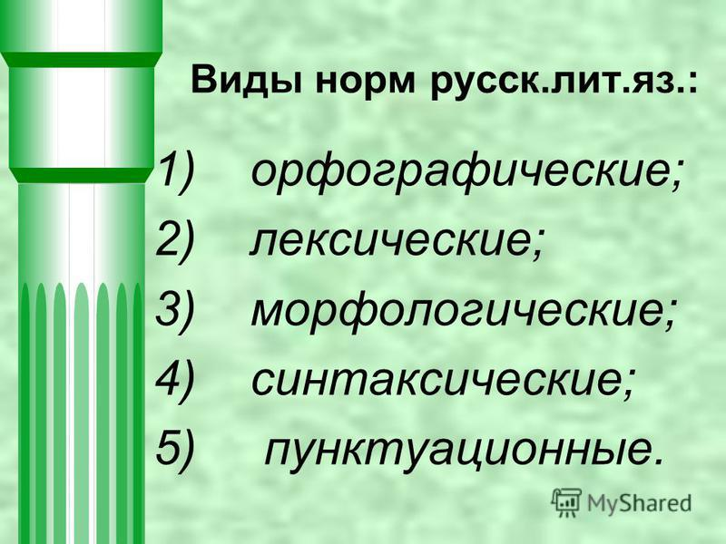 1) орфографические; 2) лексические; 3) морфологические; 4) синтаксические; 5) пунктуационные. Виды норм русск.лит.яз.: