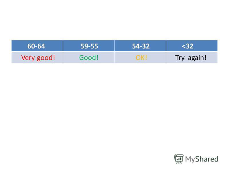 60-64 59-55 54-32 <32 Very good!Good! OK! Try again!