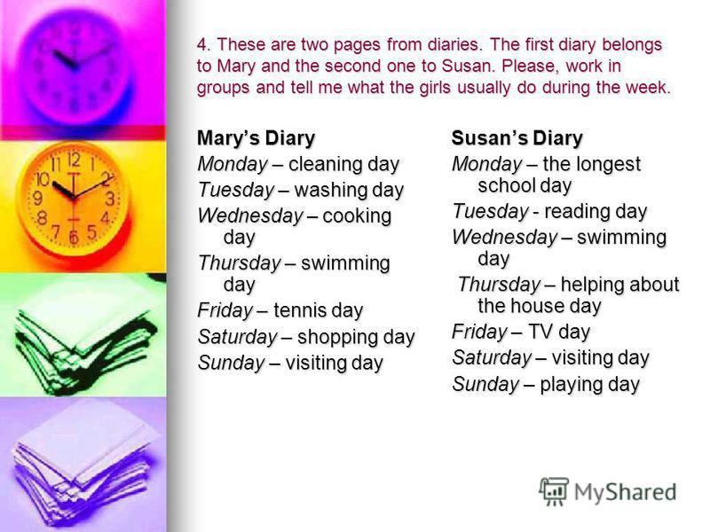 4. These are two pages from diaries. The first diary belongs to Mary and the second one to Susan. Please, work in groups and tell me what the girls usually do during the week. Marys Diary Monday – cleaning day Tuesday – washing day Wednesday – cookin