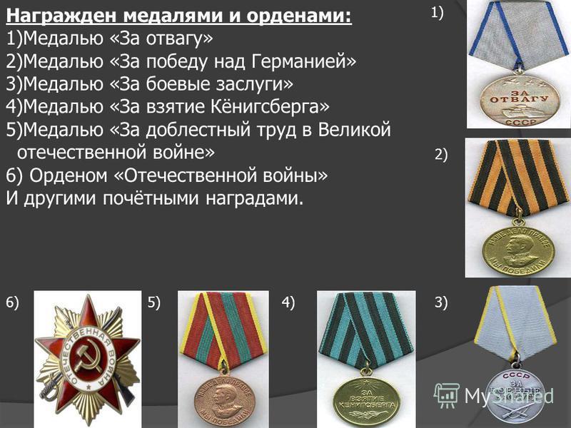 Награжден медалями и орденами: 1)Медалью «За отвагу» 2)Медалью «За победу над Германией» 3)Медалью «За боевые заслуги» 4)Медалью «За взятие Кёнигсберга» 5)Медалью «За доблестный труд в Великой отечественной войне» 6) Орденом «Отечественной войны» И д