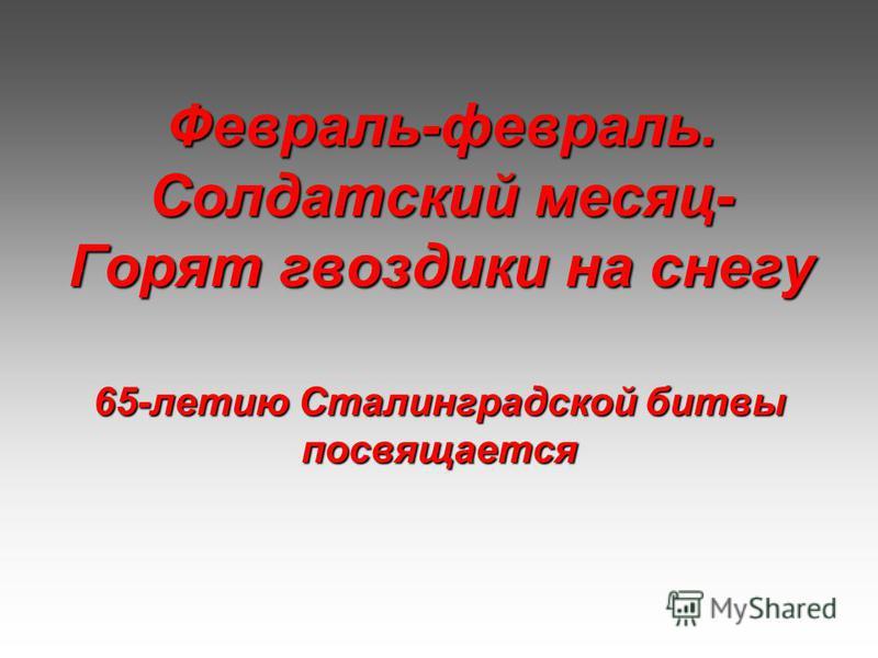 Февраль-февраль. Солдатский месяц- Горят гвоздики на снегу 65-летию Сталинградской битвы посвящается