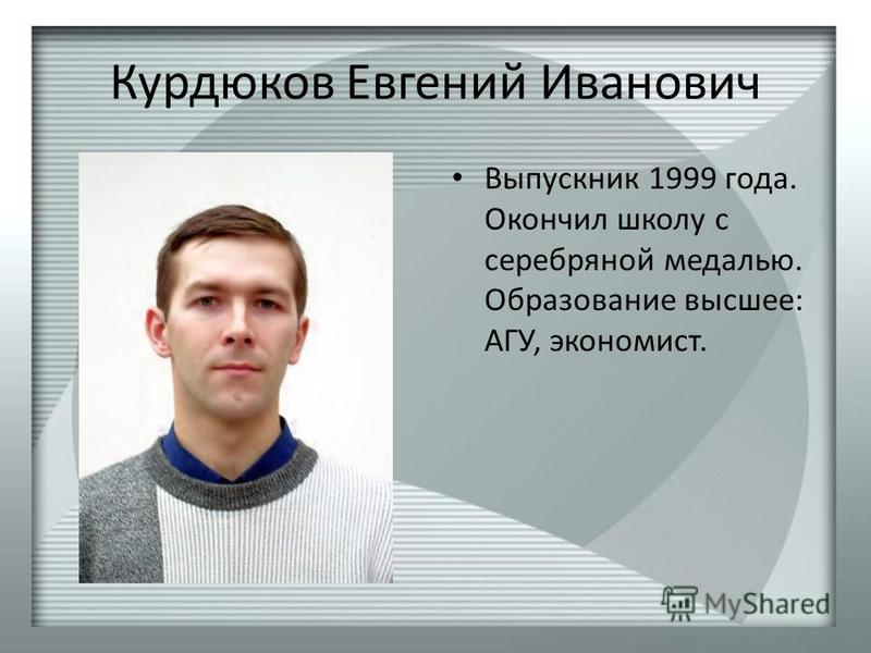 Курдюков Евгений Иванович Выпускник 1999 года. Окончил школу с серебряной медалью. Образование высшее: АГУ, экономист.