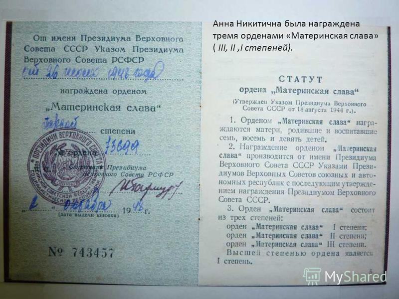 Анна Никитична была награждена тремя орденами «Материнская слава» ( III, II,I степеней).