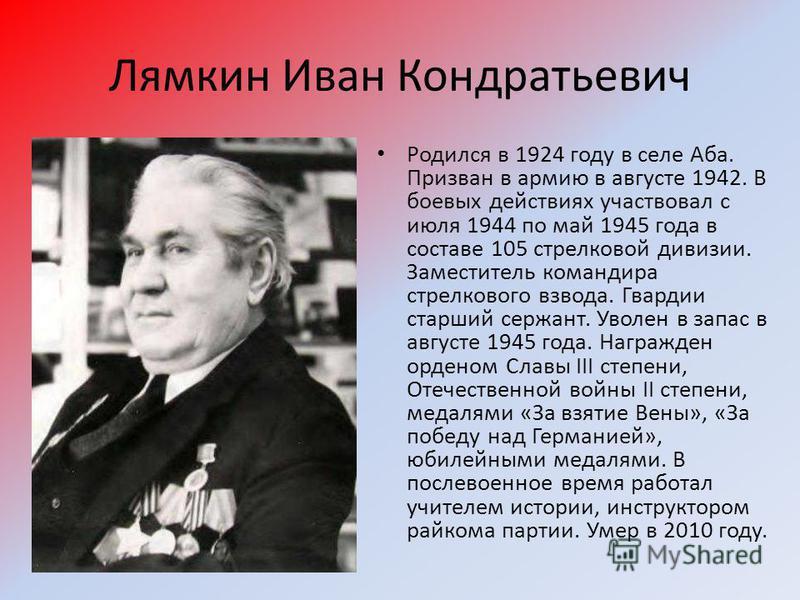 Лямкин Иван Кондратьевич Родился в 1924 году в селе Аба. Призван в армию в августе 1942. В боевых действиях участвовал с июля 1944 по май 1945 года в составе 105 стрелковой дивизии. Заместитель командира стрелкового взвода. Гвардии старший сержант. У
