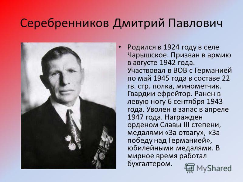 Серебренников Дмитрий Павлович Родился в 1924 году в селе Чарышское. Призван в армию в августе 1942 года. Участвовал в ВОВ с Германией по май 1945 года в составе 22 гв. стр. полка, минометчик. Гвардии ефрейтор. Ранен в левую ногу 6 сентября 1943 года
