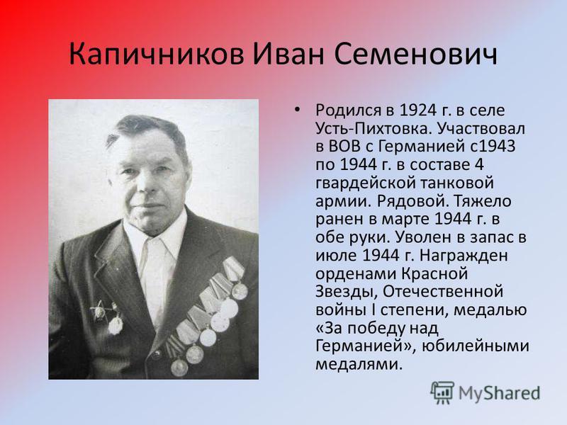 Капичников Иван Семенович Родился в 1924 г. в селе Усть-Пихтовка. Участвовал в ВОВ с Германией с 1943 по 1944 г. в составе 4 гвардейской танковой армии. Рядовой. Тяжело ранен в марте 1944 г. в обе руки. Уволен в запас в июле 1944 г. Награжден орденам