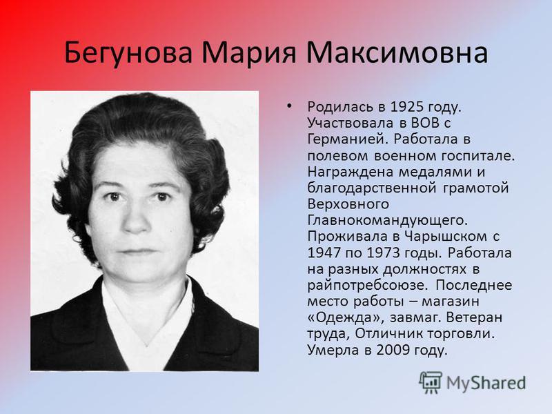 Бегунова Мария Максимовна Родилась в 1925 году. Участвовала в ВОВ с Германией. Работала в полевом военном госпитале. Награждена медалями и благодарственной грамотой Верховного Главнокомандующего. Проживала в Чарышском с 1947 по 1973 годы. Работала на