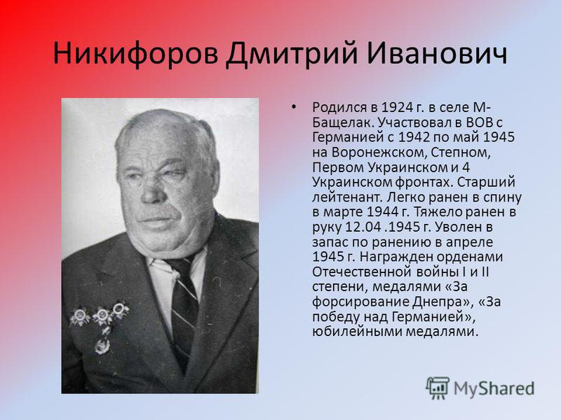 Никифоров Дмитрий Иванович Родился в 1924 г. в селе М- Бащелак. Участвовал в ВОВ с Германией с 1942 по май 1945 на Воронежском, Степном, Первом Украинском и 4 Украинском фронтах. Старший лейтенант. Легко ранен в спину в марте 1944 г. Тяжело ранен в р