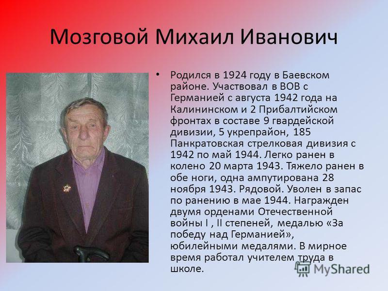 Мозговой Михаил Иванович Родился в 1924 году в Баевском районе. Участвовал в ВОВ с Германией с августа 1942 года на Калининском и 2 Прибалтийском фронтах в составе 9 гвардейской дивизии, 5 укрепрайон, 185 Панкратовская стрелковая дивизия с 1942 по ма
