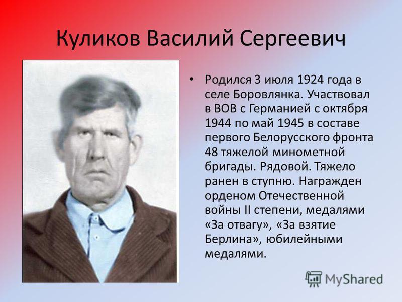 Куликов Василий Сергеевич Родился 3 июля 1924 года в селе Боровлянка. Участвовал в ВОВ с Германией с октября 1944 по май 1945 в составе первого Белорусского фронта 48 тяжелой минометной бригады. Рядовой. Тяжело ранен в ступню. Награжден орденом Отече
