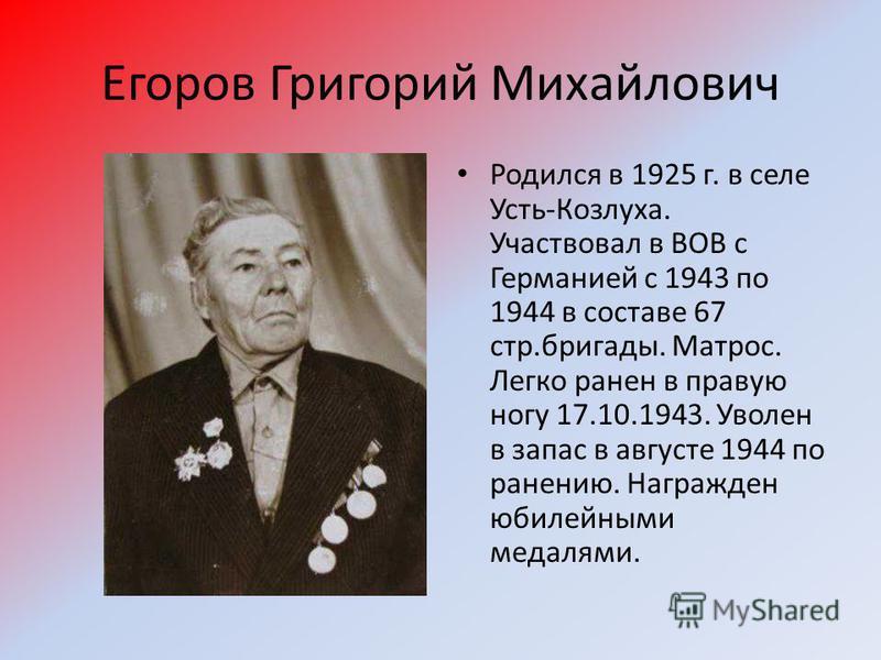 Егоров Григорий Михайлович Родился в 1925 г. в селе Усть-Козлуха. Участвовал в ВОВ с Германией с 1943 по 1944 в составе 67 стр.бригады. Матрос. Легко ранен в правую ногу 17.10.1943. Уволен в запас в августе 1944 по ранению. Награжден юбилейными медал