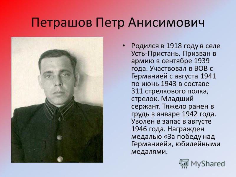 Петрашов Петр Анисимович Родился в 1918 году в селе Усть-Пристань. Призван в армию в сентябре 1939 года. Участвовал в ВОВ с Германией с августа 1941 по июнь 1943 в составе 311 стрелкового полка, стрелок. Младший сержант. Тяжело ранен в грудь в январе